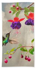 Fuchsia And Hummingbird Bath Towel