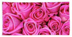 Fuschia Colored Roses Bath Towel