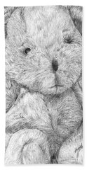 Bath Towel featuring the drawing Fuzzy Wuzzy Bear  by Vicki  Housel