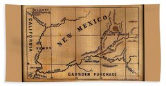 Gadsden Purchase 1850s New Mexico Map Bath Towel