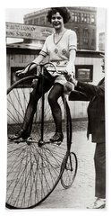 Gal On A Velocipede - Chicago 1922 Bath Towel