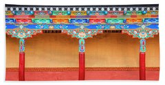 Hand Towel featuring the photograph Gallery In A Buddhist Monastery by Alexey Stiop