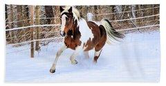 Galloping In The Snow Bath Towel by Elizabeth Dow