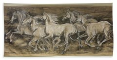 Hand Towel featuring the drawing Galloping Stallions by Debora Cardaci