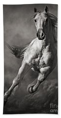Galloping White Horse In Dust Hand Towel