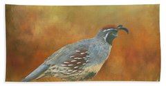 Gambel Quail In Death Valley  Bath Towel by Janette Boyd