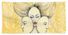 Bath Towel featuring the drawing Game Of Masks by Nareeta Martin