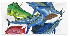 Gamefish Collage Hand Towel by Carey Chen