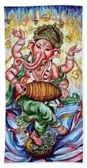 Ganesha Dancing And Playing Mridang Bath Towel