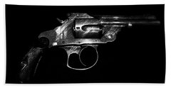 Bath Towel featuring the mixed media Gangster Gun by Daniel Hagerman