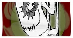Bath Towel featuring the drawing Ganix by Uncle J's Monsters