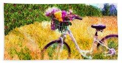 Garden Bicycle Print Bath Towel by Tina LeCour