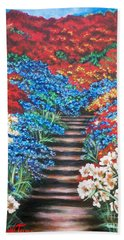 Red White And Blue Garden Cascade.               Flying Lamb Productions  Bath Towel