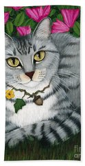 Hand Towel featuring the painting Garden Cat - Silver Tabby Cat Azaleas by Carrie Hawks