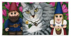 Garden Friends - Tabby Cat And Gnomes Hand Towel