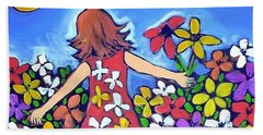 Hand Towel featuring the painting Garden Of Joy by Winsome Gunning