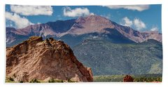 Bath Towel featuring the photograph Garden Of The Gods And Pikes Peak by Bill Gallagher