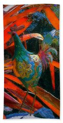 Garden Rooster Hand Towel by Lori Seaman