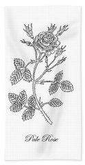 Garden Rose Botanical Drawing Black And White Hand Towel