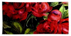 Hand Towel featuring the painting Garden Roses by Carol Grimes