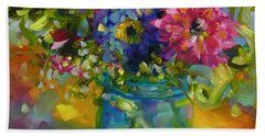 Hand Towel featuring the painting Garden Treasures by Chris Brandley