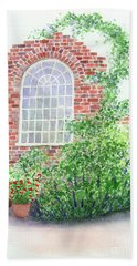 Hand Towel featuring the painting Garden Wall by Lynn Quinn