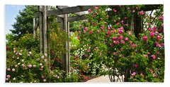 Garden With Roses Hand Towel