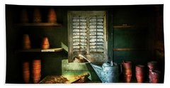 Hand Towel featuring the photograph Gardener - The Potters Shed by Mike Savad