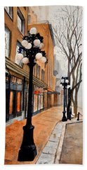 Bath Towel featuring the painting Gastown, Vancouver by Sher Nasser