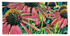 Bath Towel featuring the photograph Gathering Of Coneflowers by Diane Miller