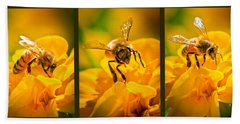 Gathering Pollen Triptych Bath Towel