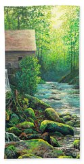 Hand Towel featuring the painting Gatlinburg  Tenessee Mill by Lou Ann Bagnall