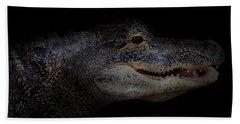 Gator In Black Bath Towel