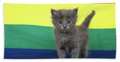 Gay Pride Grey Kitten Hand Towel