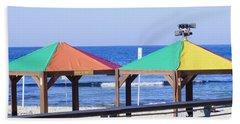 Gay Rainbow Flag Colours On A Beach In Tel Aviv Hand Towel