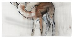Gazelle Fawn  Arabian Gazelle Hand Towel by Mark Adlington