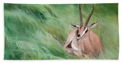 Gazelle In The Grass Bath Towel by Joshua Martin