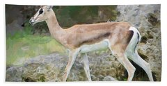 Hand Towel featuring the painting Gazelle Pose by Judy Kay