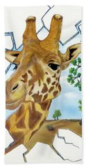 Bath Towel featuring the painting Gazing Giraffe by Teresa Wing