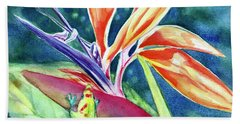 Gecko On Bird Of Paradise Bath Towel
