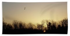 Hand Towel featuring the photograph Geese At Sunrise by Kent Lorentzen