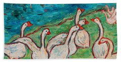Hand Towel featuring the painting Geese By The Pond by Xueling Zou