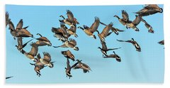 Geese In Flight Hand Towel
