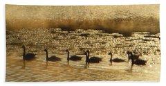 Geese On Golden Pond Bath Towel