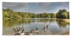 Geese On The Lake Hdr Bath Towel