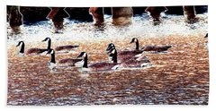 Geese On The Water Hand Towel