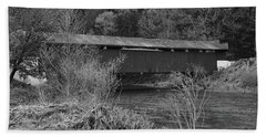 Bath Towel featuring the photograph Geiger Covered Bridge B/w by Jennifer Ancker