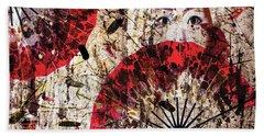 Bath Towel featuring the digital art Geisha Grunge by Paula Ayers