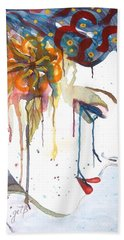 Geisha Soul Watercolor Painting Hand Towel