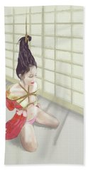 Bath Towel featuring the mixed media Geisha by TortureLord Art